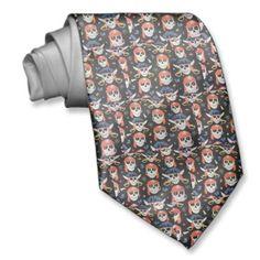 Jolly Roger Pirate Skulls men's neck tie.
