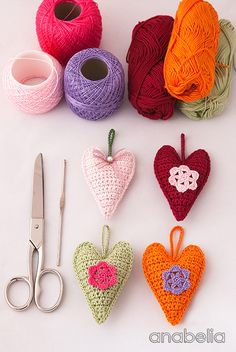 Crochet hearts free pattern by Anabelia