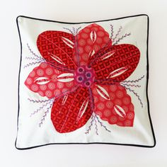 Inspired by the Potterseed range, these hand embroided cushions with shwe shwe fabric are absolutely gorgeous Sewing Ideas, Sewing Projects, Absolutely Gorgeous, Printing On Fabric, Folk Art, Stitches, Wax, Quilting, Cushions