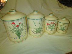 Vintage Woodbine Meadows Canister Set Pottery by CarolsTrueVintage