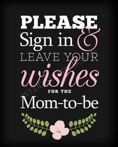 Please Sign In and Leave Your Wishes for the Mom-to-Be Baby Shower Guest Book Digital Sign in Black and White with Pink Flower 8x10 Black by WeddingsBySusan