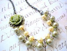 Beadwork Necklace Two Strand Bib Necklace Green by elinacreations, $28.00