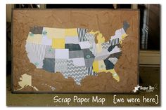 Sugar Bee Crafts: sewing, recipes, crafts, photo tips, and more!: Scrap Paper Map {we were here}