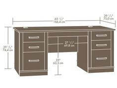 From Sauder comes this contemporary executive desk, decked out in a gorgeous dark alder finish with silver accents. Features you'll love include the drop-down k Table Furniture, Home Furniture, Furniture Design, Family Office, Home Office, Desk Dimensions, Hobby Desk, Drawing Furniture, Luxury Office