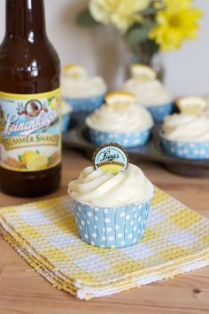 Summer Shandy Cupcakes! I love the corona and blue moon cupcakes so I'm definitely trying these next!