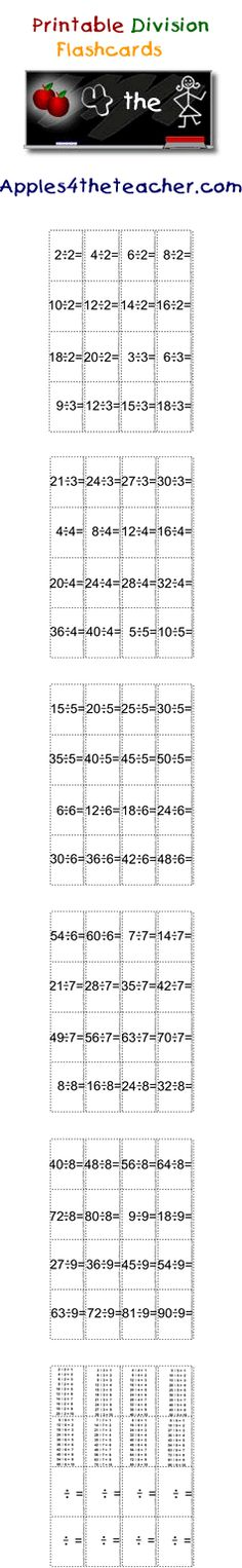 Learn your division tables with these mini division flash cards. Division flashcards reinforce division tables from 1 to 9.
