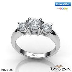 Classic Round Diamond Three Stone Engagement Ring GIA G VS2 14k White Gold 1.5ct.