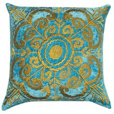 Turquoise Embroidered Velvet Pillow. Very elegant gold applique on Teal velvet pillow.  Luxury Pillow design.  Classical Pattern.  I love making pillows!
