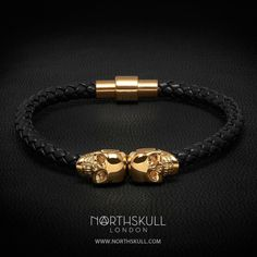 The Black Nappa Leather / 18kt. Gold Twin Skull Bracelet by...