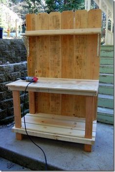 wood fence craft projects | DIY work bench/potting bench made of fence boards by irishgrl