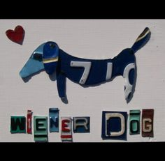 Funky Wiener Weiner Dog  Recycled License Plate by recycledartco, $40.00