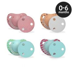 Girls 0-6 months Orthodontic Silicone Soother with Clip in assorted designs.
