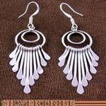 Native American Genuine Sterling Silver Navajo Hook Earrings