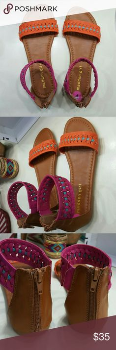 Back Zip Sandal 4Y New without a box. Never worn.  Madden girl  flat sandal in hot pink, orange, turquoise and leather. Has non skid rubber sole.  Size: 4 Youth and 6-6.5 women's. Madden Girl Shoes Sandals