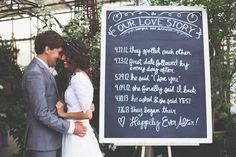 "Cute idea! The ""Our Love Story"" chalkboard ~~~~ Mandi Nelson Photography - http://mandinelsonphotography.blogspot.com/2013/11/addison-morgan.html"