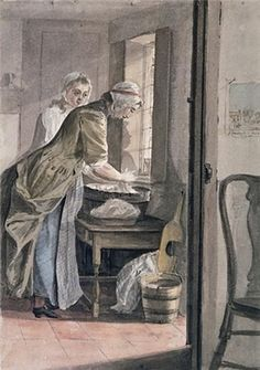 Laundry-work. 'Women Washing at Sandpit Gate', by Paul Sandby, 1765; watercolour.