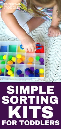 Three easy sorting kits to make for toddlers that you can take along on car rides, on airplanes, or anywhere you need to entertain your toddler. #entertainyourtoddler #sortingactivities #activitiesforkids #childhoodunplugged #learningthroughplay #preschool