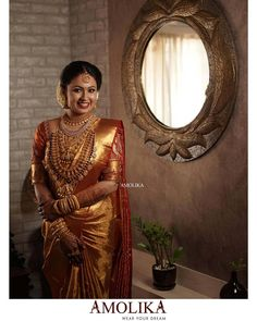 South Indian Wedding Saree, Bridal Hairstyle Indian Wedding, Indian Wedding Bride, Indian Bridal Sarees, Bridal Silk Saree, Indian Bridal Outfits, South Indian Bride, Wedding Sarees, Kerala Bride