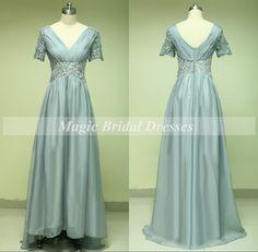 Elegant Silver Beading Chiffon Mother of the Bride Dress 2015 Short Sleeve Charming V-neck Empire Waist A-line Floor-length Long Women Dress by MagicBridalDresses on Etsy