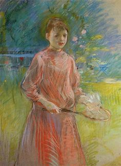 Girl with Shuttlecock (also known as Jeanne Bonnet) by Berthe Morisot, 1888, pastel.