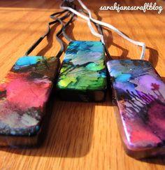 Sarah Jane's Craft Blog: Dripped Alcohol Ink Domino Pendants
