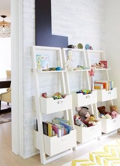 Nine brilliant, kiddo-optimized design ideas to keep a tidy playroom. möbel kinderzimmer 9 Kids Playroom Storage Ideas That Do The Cleaning For You Kids Playroom Storage, Playroom Organization, Playroom Decor, Kids Decor, Home Decor, Playroom Design, Bedroom Storage, Organized Playroom, Playroom Shelves