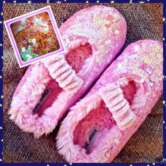 Genuine Mermaid Scales Slippers Pink and fuzzywuzzy, iridescent sequin-encrusted Mary Jane style bedroom slippers. Who wants a midnight snack? 🍪🍰🍪 Steve Madden Shoes Slippers