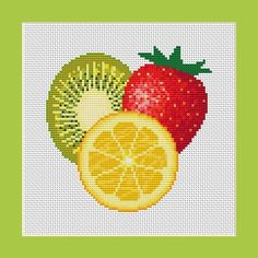 5046 - Orange Kiwi and Strawberry Counted Cross Stitch Pattern in PDF for Instant Download No shipping charges!! Download and Print your cross
