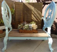 SOLD - Two Chair Bench in French Provincial Blue.