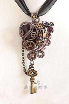 steampunk Tattoo | Steampunk Heart Key Tattoo Purple steampunk heart pendant