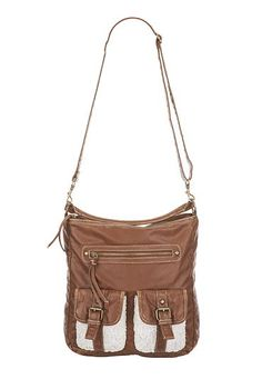 Perfect to fit everything!  crochet pocket faux leather crossbody satchel ($34) #Maurices