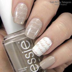 Nail Art By Belegwen: Essie Sand Tropez and Gina Tricot White
