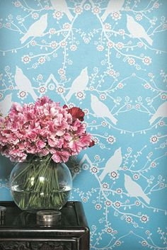 Catherine Martin  Sparrow    Japanese sparrows and cherry blossoms combine to create a playful simplicity, which is both whimsical and stylish.