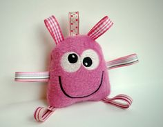 Baby Rattle Pink Monster Taggie Toy Stuffed by BirdieAndDot, $8.00