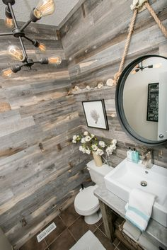 Stikwood Reclaimed Wood accent wall designed by Bella Interiors. Photo credit: dzinephotography