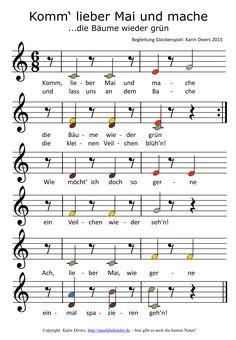 Komm, lieber Mai und mache... Bunte Noten fürs Glockenspiel (Begleitung)