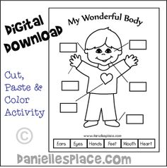My Wonderful Body Printable - Cut, paste and color Activity sheet from www.daniellesplace.com