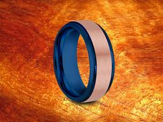 Rose Gold & Blue Tungsten Ring 8MMTwo Tone by Silvershowroom