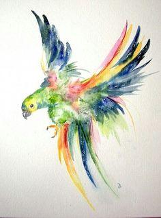 Nicole Van Axx # hübscher Papaguei # wasserfarben