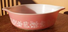 Pyrex Pink Gooseberry with White Pattern 1 Pint Replacement Piece No Lid by ThatOneThing on Etsy