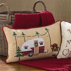 This decorative pillow features a camper decorated up for Christmas - Cotton with poly fill insert, zipper closure - Size: - Machine wash gentle, hang dry christmas dyi Christmas Truck, Christmas Sewing, Christmas Projects, Christmas Vacation, Country Christmas, Dyi Pillows, Decorative Pillows, Throw Pillows, Christmas Cushions