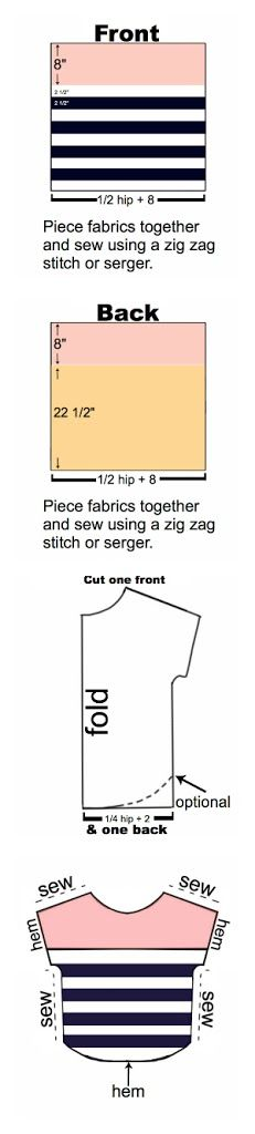 Here is a very simple mini-tutorial for you:  You'll need some scraps/strips of different colored jersey or interlock fabrics, a double needle for the hemming, and a measuring tape.   Seam allowances are 1/4″.  In case the measurements are confusing anyone here is an example:  The first thing I did was measure my hips,… Read More