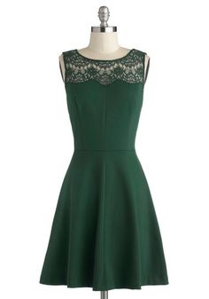 Conifer What It's Worth Dress - Knit, Sheer, Mid-length, Green, Solid, Lace, Party, A-line, Sleeveless,