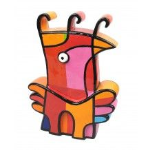 Jacqueline Schäfer Vreemde Vogel serie N medium roze oranje