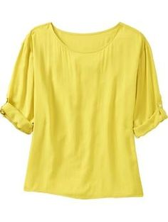 3/4-Sleeve Button-Tab Tops