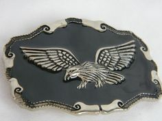 "Eagle In Flight Belt Buckle Silver Toned Metal Black Enamel 3.5"" x 2.5""  #Unbranded #Casual"