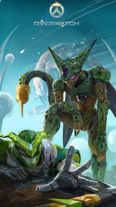 Overwatch x Dbz Dbz, Dragon Ball Z, Imperfect Cell, Goten E Trunks, Chibi, Anime Crossover, Overwatch, Game Art, Manga Anime