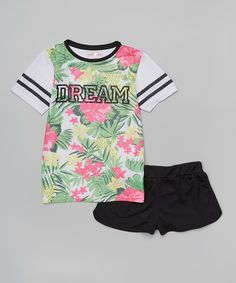 Love this Girls Luv Pink Black \'Dream\' Tropical Flower Tee & Shorts - Girls by Girls Luv Pink on #zulily! #zulilyfinds