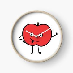 'Cute Apple Character Sticker' Clock by CarmelaGiordano Modern Prints, Art Prints, Beaded Ornaments, Quartz Clock Mechanism, Red Apple, Transparent Stickers, Glossier Stickers, Sell Your Art, Hand Coloring