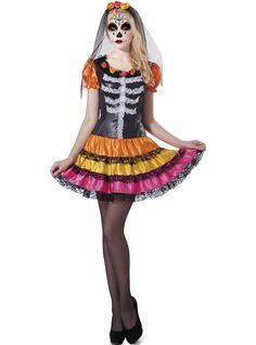 Disfraz Katrina mexicana colorida para mujer